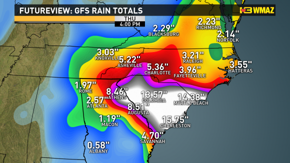 The GFS model is indicating intense rains across South Carolina over the weekend. Image Credit: 13WMAZ Weather