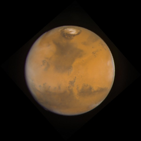 The red planet, as seen by the Hubble Space Telescope. Image credit: Jim Bell (Cornell University), Justin Maki (JPL), and Mike Wolff (Space Sciences Institute) and NASA