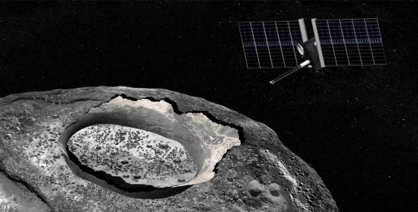 Artist's concept of the Psyche mission, via NASA JPL