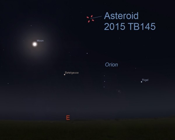 Facing east from U.S. at 11:50 pm ET October 30, 2015 (late on Friday night). Illustration by Eddie Irizarry using Stellarium.