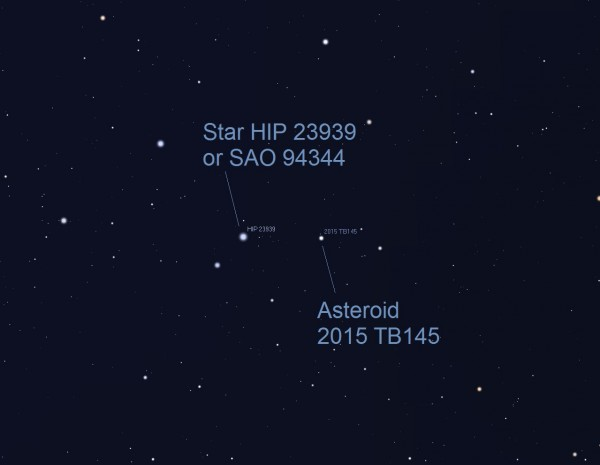 Asteroid position at 3:20 a.m. ET (7:20 UTC). If you have a computerized (Go To) telescope, point it to HIP 23939 or SAO 94344, an 8 magnitude star in Orion. At 3:20 a.m. ET on October 31 (Saturday morning), the space rock passes very close to this star. The asteroid will appear as a slowly moving 'star' passing close to this star. This illustration shows a half degree field of view (about the size of a full moon). Alternatively, you can point your telescope to these coordinates: RA 5h 8m 42.3s / DEC +15º 06' 13.6
