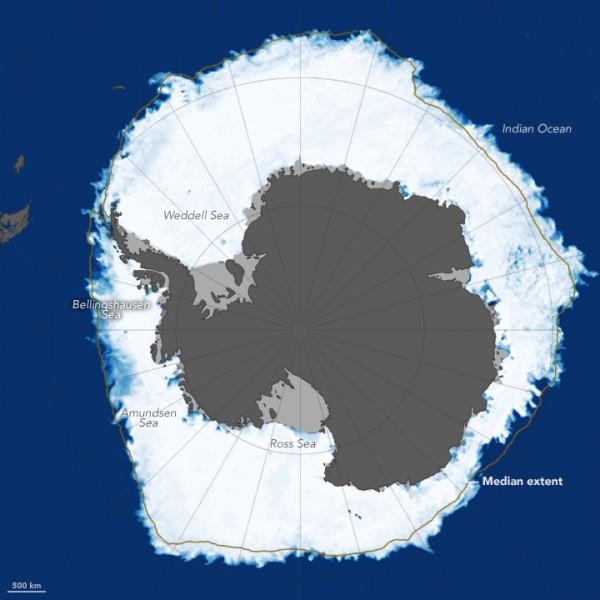 Antarctica sea ice maximum in 2014.  Image via data from Advanced Microwave Scanning Radiometer 2 (AMSR2) sensor on Japan's Global Change Observation Mission 1st–Water (GCOM-W1) satellite.