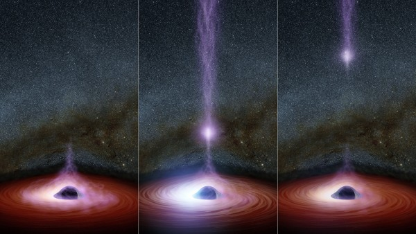Artist's concept showing how a This diagram shows how a shifting feature, called a corona, can create a flare of X-rays around a black hole. Image via NASA/JPL-Caltech