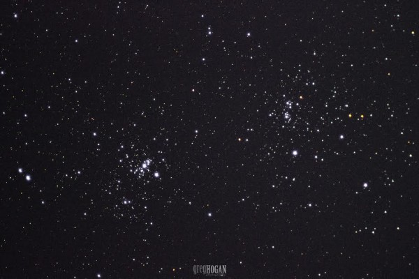 View larger. | Double cluster in Perseus by Greg Hogan in Kathleen, Georgia.  Photo taken in 2015.