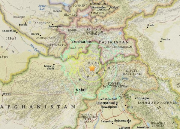 7.5-magnitude earthquake north-northeast of Kabul, October 26, 2015.  Image via USGS.