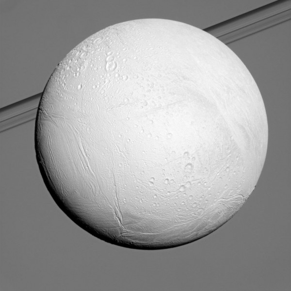 Here is the ocean-bearing icy moon Enceladus.  Earlier in Cassini's mission at Saturn, the northern part of this moon was in the shadow of winter. Image via NASA/JPL-Caltech