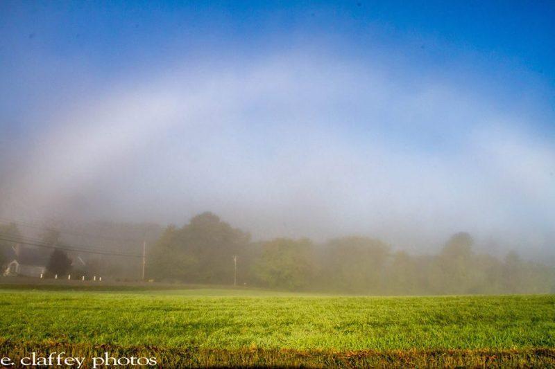 Eileen Claffey in Brookline, Massachusetts captured this fogbow over a field in September, 2014.