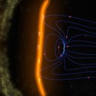 An illustration of Earth's magnetic field shielding our planet from solar particles. Image via NASA/GSFC/SVS.