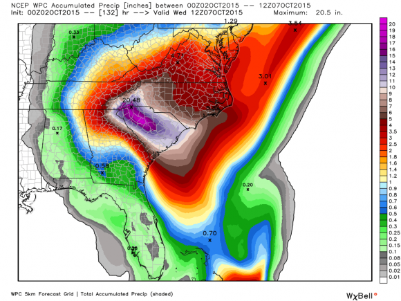 Forecast rainfall totals for the next seven days from NOAA. Image Credit: Weatherbell