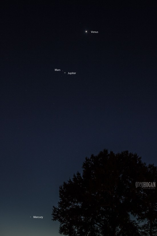 Planets before dawn on Saturday morning, October 17, 2015 by Greg Hogan in Kathleen, Georgia.