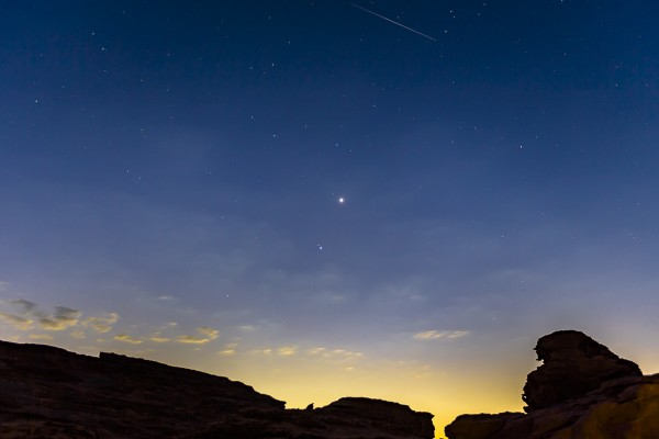 The morning planets can be seen from around the world.  Here's a photo of Saturday morning's sky from Bashar Alaeddin in Amman, Jordan.
