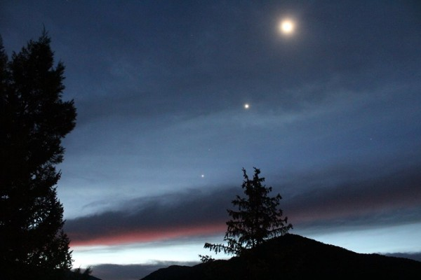Moon, Venus, Jupiter on October 8 by Amy Dengler.