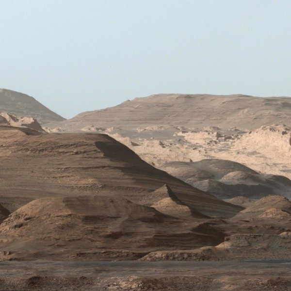 View larger. | The foothills of Mount Sharp, the central peak within the Gale Crater on Mars.