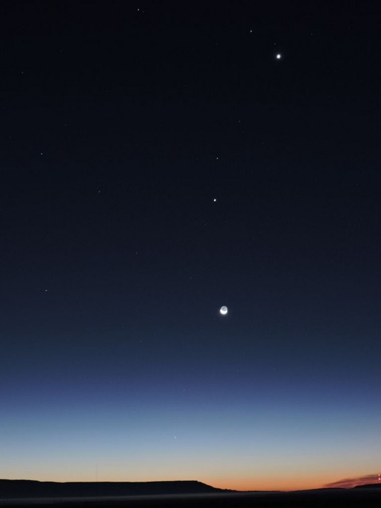 Planets before dawn on October 10, by Peter K. Yanke in San Rafael, New Mexico.