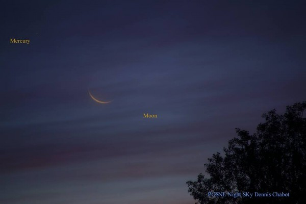 Dennis Chabot caught the elusive planet Mercury near the moon on the morning of October 11.