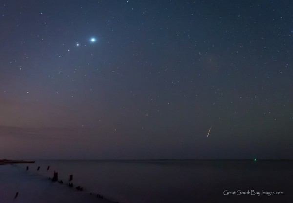 The morning planets - Venus, Jupiter, Mars - and a meteor!  Captured October 22, 2015 by Mike Busch of GreatSouthBayImages on Facebook.