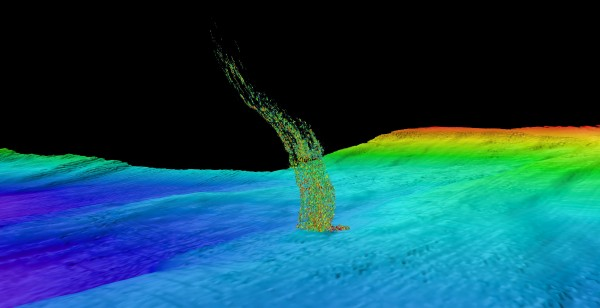 Sonar image of bubbles rising from the seafloor off the Washington coast. The base of the column is 515 meters deep (about 1/3 of a mile) and the top of the plume is at 1/10 of a mile (180 meters) deep. Image credit: Brendan Philip/University of Washington