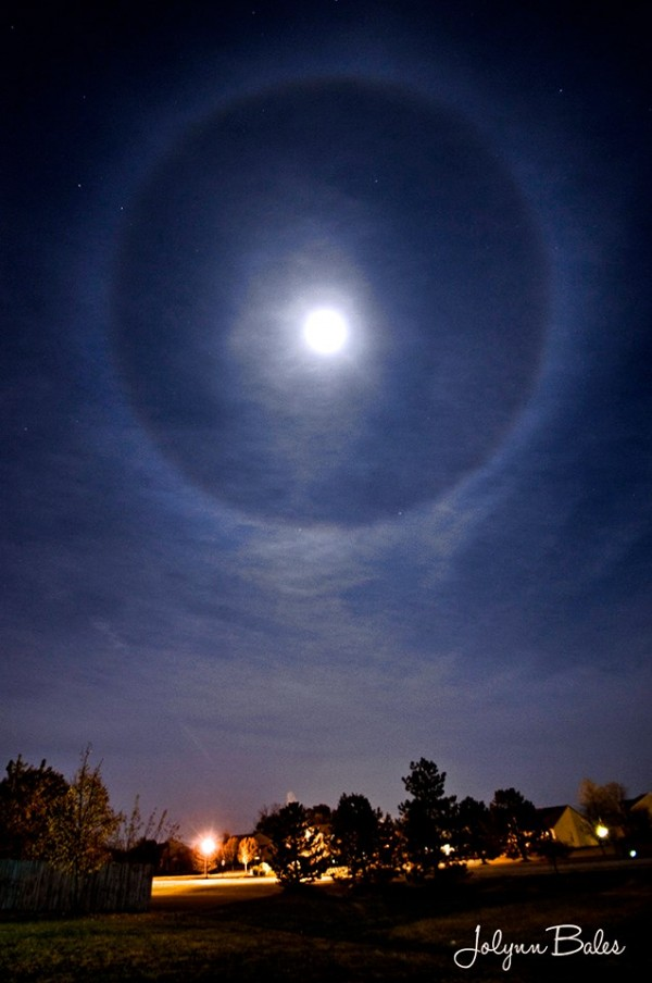 Halo around the almost full moon - Sunday, October 25, 2015 - by Jolynn Keutzer Bales in central Indiana.