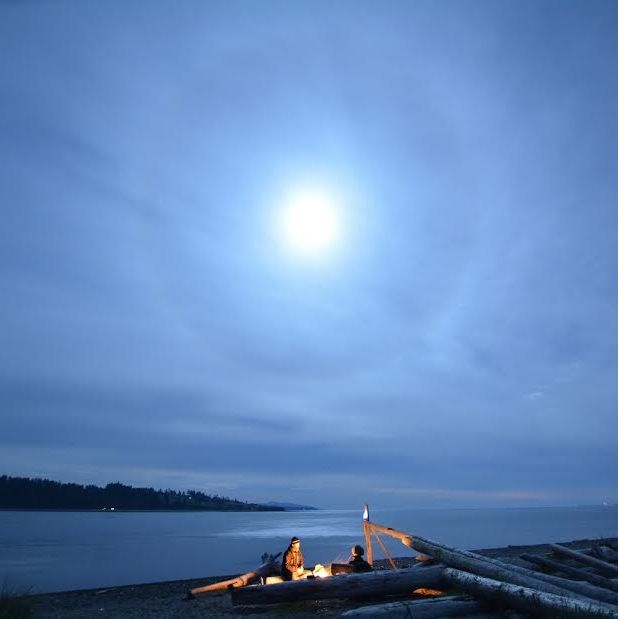 Halo around a full moon, by James Younger at Vancouver Island.