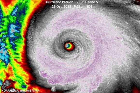 Patricia near peak intensity on October 23, 2015. Image Credit: NOAA