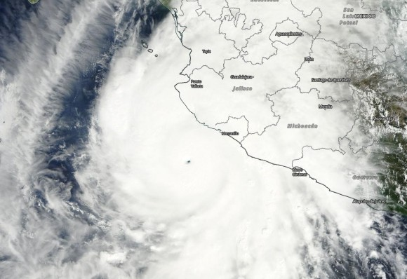Visible satellite imagery of Hurricane Patricia on October 23, 2015. Image Credit: NASA