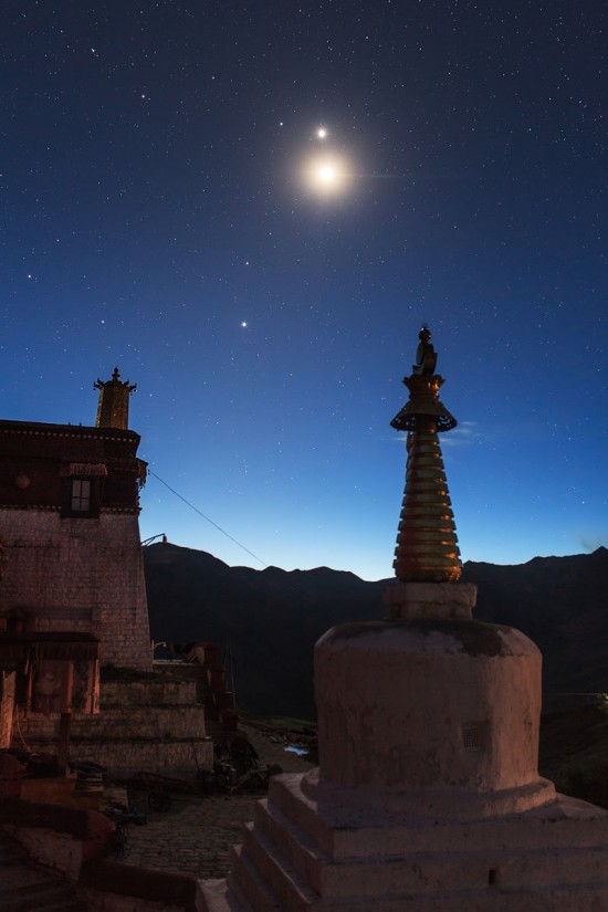 Planets and moon above Ganden Monastery in Tibet.  Photo by Jeff Dai.