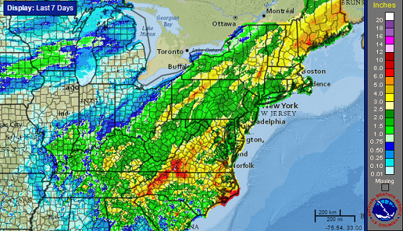 Rainfall totals across the East Coast over the past seven days. Image Credit: NOAA