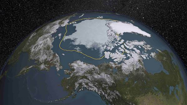 In 2015, the Arctic sea ice summertime minimum is 699,000 square miles below the 1981-2010 average, shown here as a gold line in this visual representation of a NASA analysis of satellite data released September 14, 2015.  Image via NASA.   The 2015 minimum was the fourth-lowest on record.