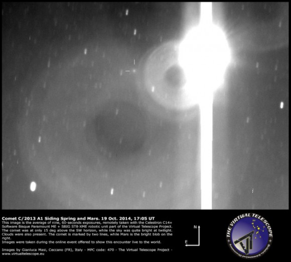 The crosshairs show the whereabouts of Comet Siding Spring.  The bright object in the image is Mars!  Image via Virtual Telescope Project.