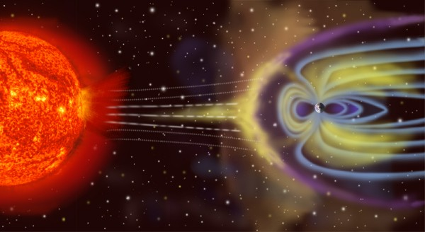 View larger. | Artist's depiction of solar wind colliding with Earth's magnetosphere (size and distance are not to scale).  Image via NASA.