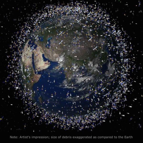 Artist's concept of space debris surrounding Earth.