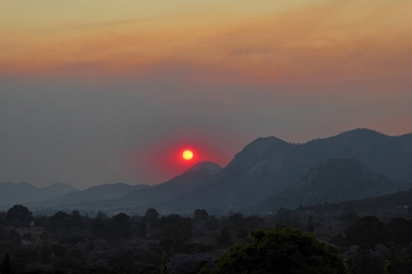 Smokey sunset, Mutare, Zimbabwe, October 10.  Photo by Peter Lowenstein.