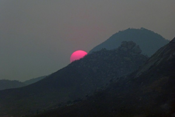 Magenta sunset. Mutare, Zimbabwe, October 10.  Photo by Peter Lowenstein.