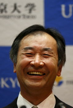 Takaaki Kajita at a news conference after the announcement he's won the Nobel Prize for Physics. Photo credit: Kato/Reuters