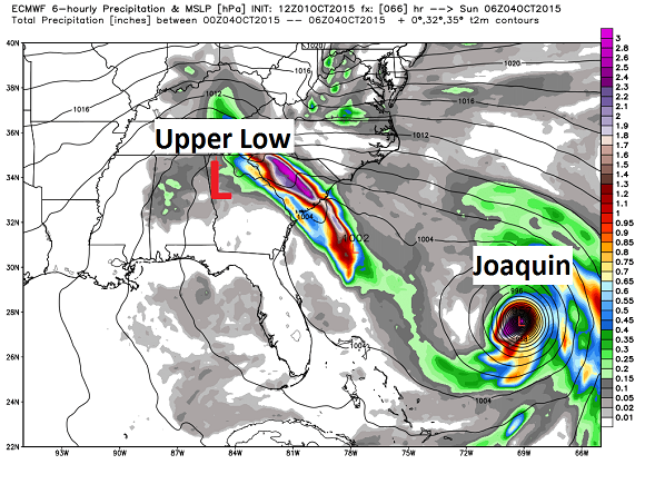 European model showing how the upper level low helps drag moisture into South Carolina this weekend. Image Credit: Weatherbell