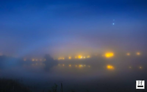Venus and Jupiter above a fogbow in Blacklough, Dungannon, Ireland.  Mars is up there, too, but tough to see.  John Fagan captured them all on October 27, 2015.  Thank you, John!