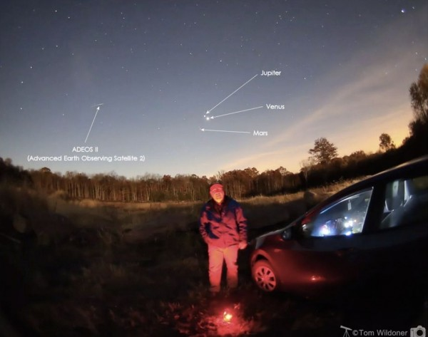 Spooky selfie - Venus, Jupiter and Mars - and a dead satellite posted at EarthSky Facebook by EarthSky by Tom Wildoner of LeisurelyScientist.com