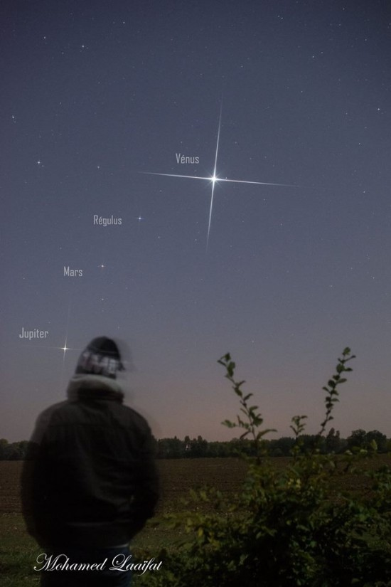 Watch for the planets before dawn in October, 2015! Photo taken October 2, 2015 by Mohamed Laaifat Photographies in Normandy, France.