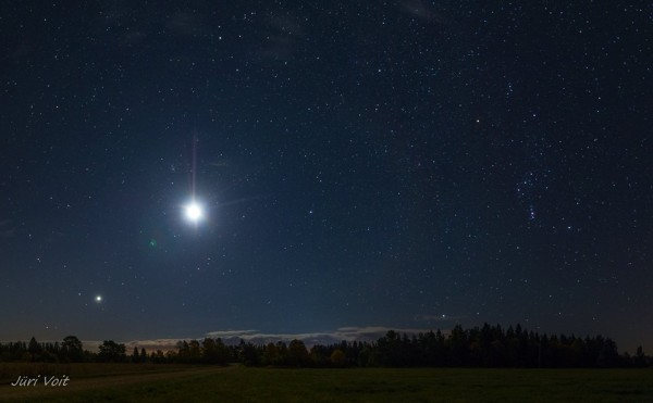 Moon and Venus on October 7 by Jüri Voit Photography in Estonia.  On the right, you can see the constellation Orion.