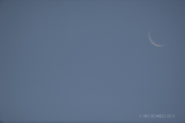 Vince in Guelph, Ontario, Canada caught Venus and the moon in daytime on October 8.  Venus is in the bottom right of the photo.