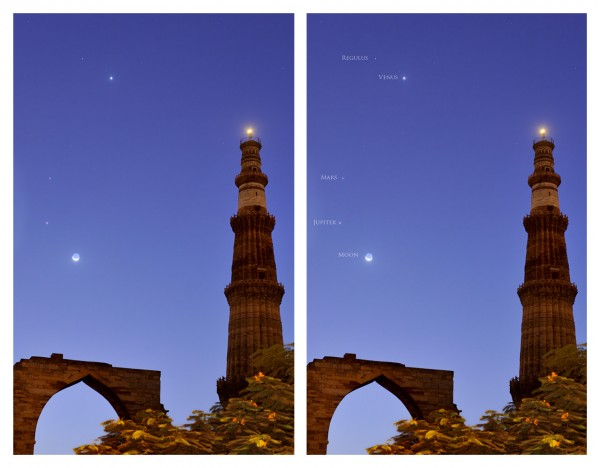 Venus, moon and more over Qutab Minar on October 10, 2015 by Abhinav Singhai in India.