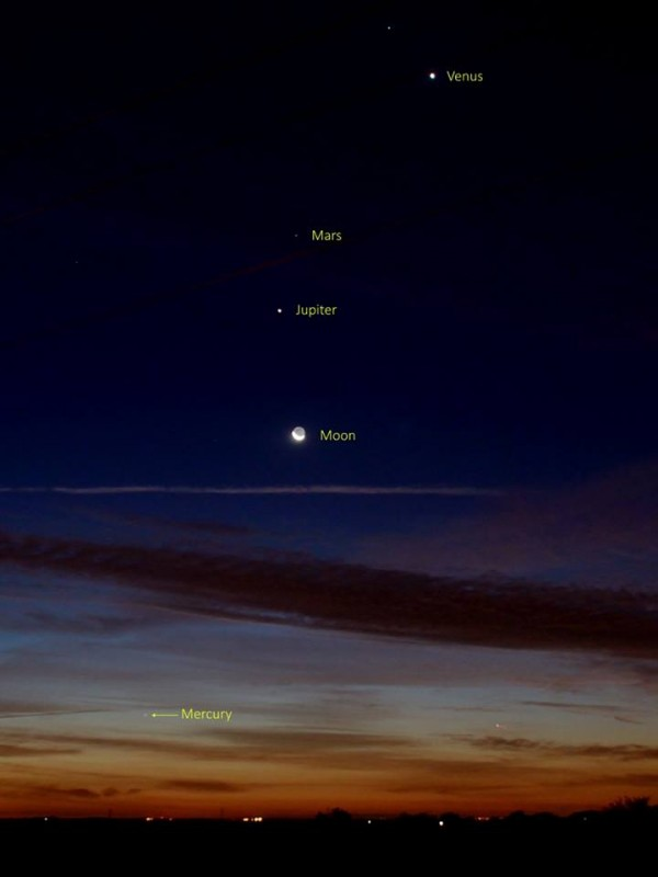 Venus, moon, Jupiter, more ... see Mercury near the horizon?  Taken on the morning of October 10 by our friend Annie Lewis in Spain.