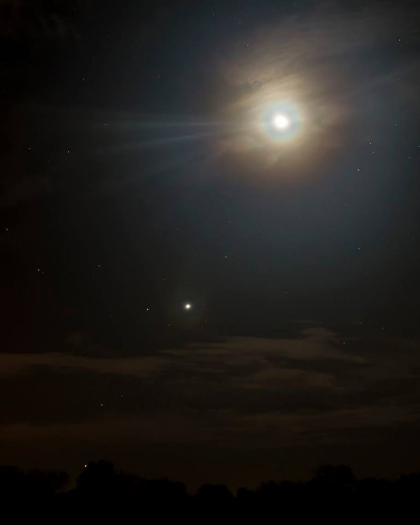 Moon, Venus and company on October 7 by Ken Christison in North Carolina.