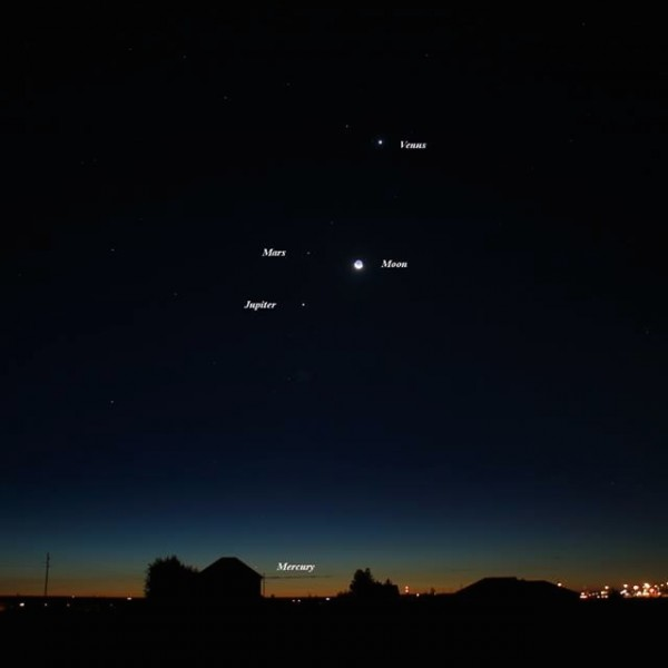 Venus, moon and company on October 9 by Steve Pauken.  See Mercury?