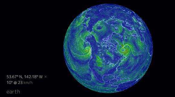 Screen shot of a wind map over the Arctic. Image via the Earth Science Week visualization website.