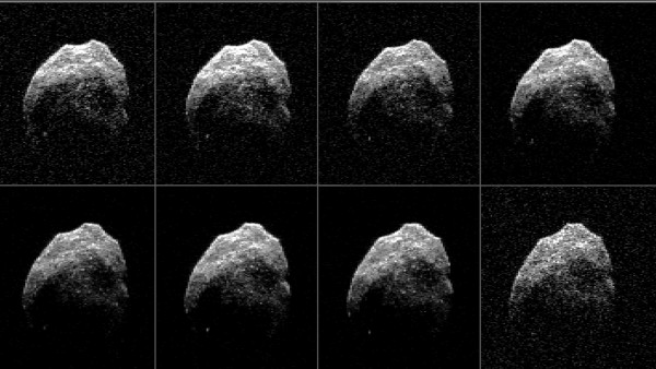 View larger. | 2015 TB145 is depicted in 8 individual radar images collected on Oct. 31, 2015, over a span of slightly more than an hour. At the time the radar images were taken, the asteroid was between 440,000 miles (710,000 km) and about 430,000 miles (690,000 km) distant. These radar images are from the antenna at Goldstone, California, used to transmit high power microwaves toward the asteroid. The signal bounced of the asteroid, and their radar echoes were received by the National Radio Astronomy Observatory's Green Bank Telescope in West Virginia. Image via NASA/JPL-Caltech/GSSR/NRAO/AUI/NSF.