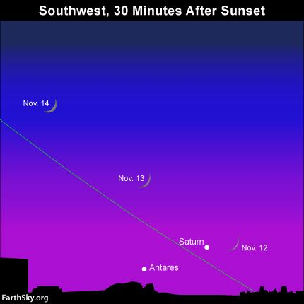 Although we show the star Antares on the sky chart, you are not likely to spot this star after sunset - especially at more northerly latitudes. Saturn will pose enough of a challenge. Good luck!