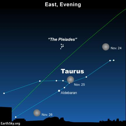 The full moon shines in front of the constellation Taurus the Bull. Six months from now - in late May - the sun will be in front of Taurus, and in the vicinity of Aldebaran and the Pleiades star cluster.  The green line depicts the ecliptic - Earth's orbital plane projected onto the dome of sky. Northern US and Canada can watch the moon occult Aldebaran late tonight. Click here for details.