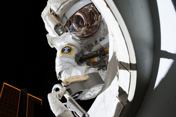 NASA astronaut Scott Kelly is photographed just outside the airlock during his first ever spacewalk on Oct 28, 2015. Image credit: NASA