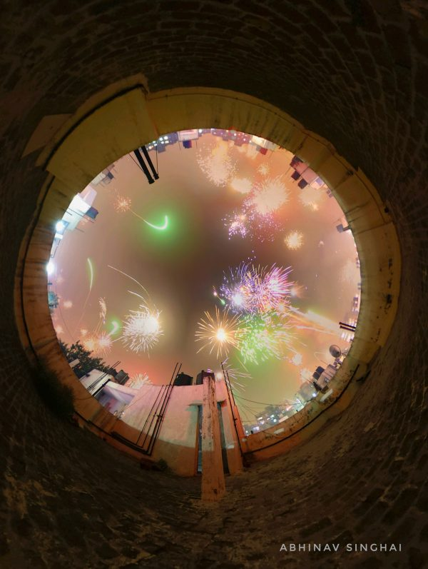 Diwali fireworks 2016. A time-lapse composite of pictures taken on Oct. 30 from 7pm until 11pm by Abhinav Singhai in New Delhi, India.